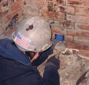 Bricks were numbered before being removed from the chimney.
