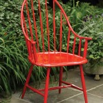 Shiny with red paint, the 'Windsor' chair from Charleston Gardens is actually aluminum.