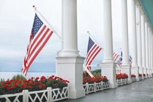 The famous porch overlooks the Straits of Mackinac.