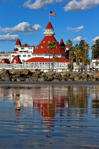 The Hotel del Coronado's iconic red roof.