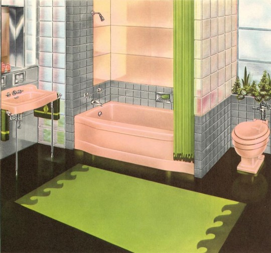 The early 1950s saw an explosion of bathrooms with pink toilets, tubs, and sinks and walls tiled in shades of gray—like this textbook example.