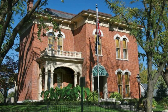 Lockerbie Square's finest mansion, the Italianate James Whitcomb Riley House.