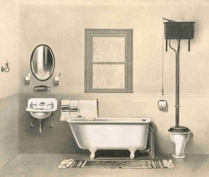 High-tank toilets ruled the bathroom during the Victorian era.