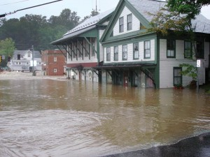 Rains from Hurricane Irene caused the Deerfield River to overflow, flooding Wilmington's historic downtown.