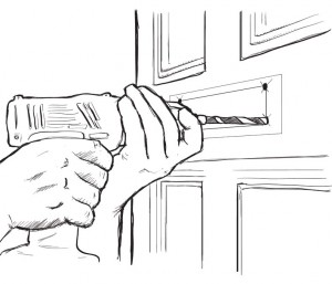 Drill the hole for the mail slot