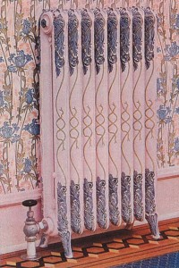 Radiators painted in elaborate color schemes became popular around 1900. This example, featuring colors to match the wallpaper and hand-detailed vines, was features in an American Radiator Company souvenir book from 1905.