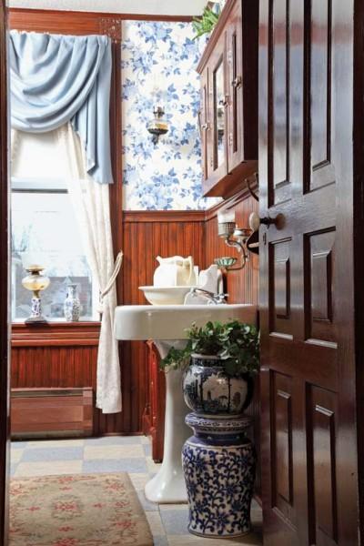 Victorian beadboard in a restored bathroom