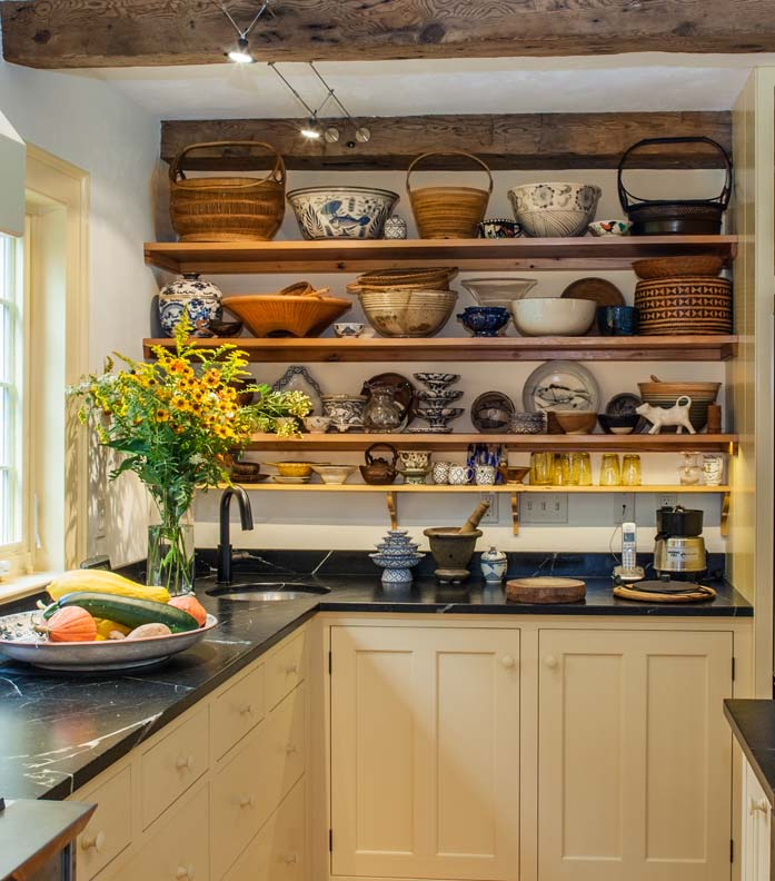 Traditional kitchen in a new addition old house online for Traditional kitchen shelves