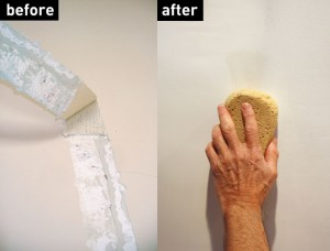 Patching plaster before and after