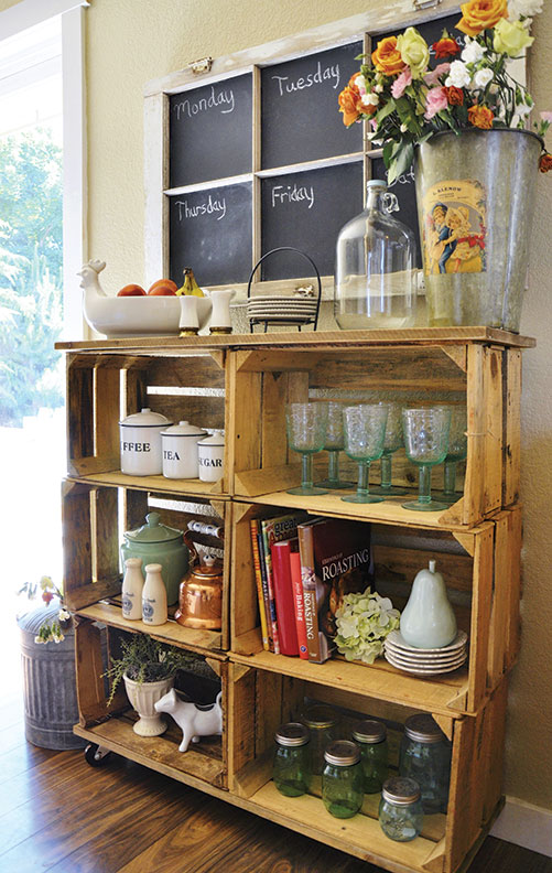Make shelves out of wooden crates old house online old for Shelves made out of crates