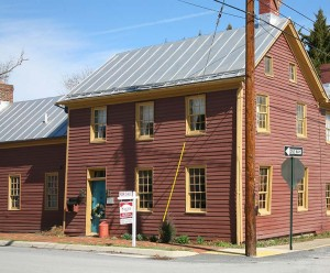 Weatherboard-sided 18th-century house in Strasburg, Virginia