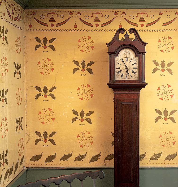 Mural stencil ideas for early homes old house online for Colonial mural wallpaper