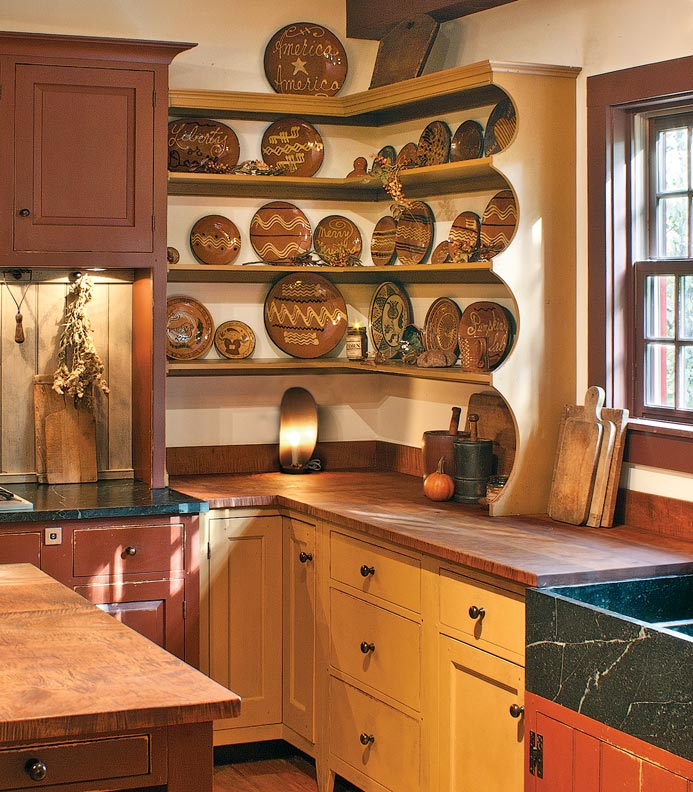 8 ways to design a kitchen for an early house old house for Early american kitchen cabinets