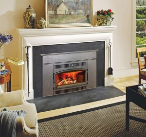 Adding an insert—wood-burning, gas, or electric—is an easy way to make original fireplaces more efficient.