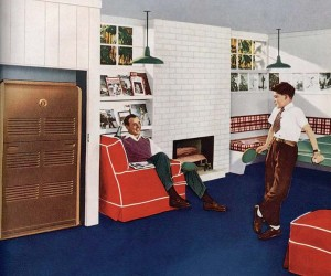 By mid-century, forced-air furnaces were everywhere. this model from Rheem was pretty enough to sit in the living room.