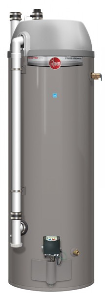 Rheem's 48-gallon high efficiency, direct vent condensing water heater can supply more than 90 gallons of hot water in the first hour.