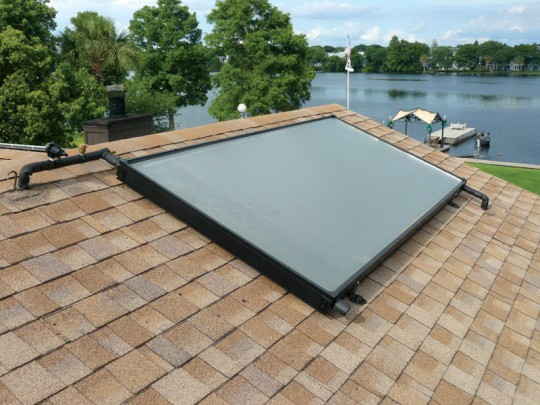Panels for solar water heaters usually have a smaller footprint than those for overall heating.