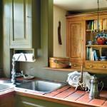 cherry countertops, kitchen pass-through